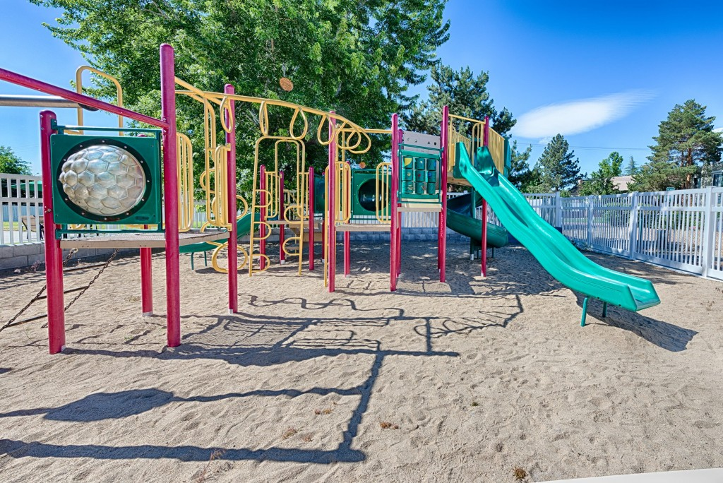 Playground with slides and monkey bars.