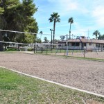 A volleyball sand court