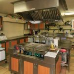 commercial kitchen with stainless steel griddles, sinks and smoke vents
